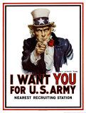 Poster de recrutement pour l&#39;arm&#233;e am&#233;ricaine - I Want You for the U.S. Army, vers 1917 Affiches par James Montgomery Flagg