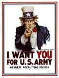 Te queremos a ti del póster de reclutamiento para el ejército de los Estados Unidos, ca. 1917 Láminas por Flagg, James Montgomery