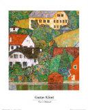 Casas en Unterach a orillas del lago Lámina por Gustav Klimt