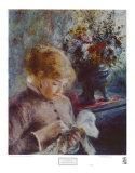 Lady Sewing Kunst af Pierre-Auguste Renoir