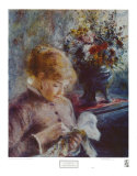 Lady Sewing Art by Pierre-Auguste Renoir
