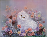 Kittens and Flowers IV Prints by Lily Chang