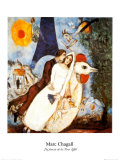 Les Fiancees de la Tour Eiffel Print by Marc Chagall