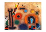 Libelle Mit Roten Flugeln Eine Schlange Jagend Plakater af Joan Miró