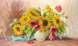 Mohn und Sonnenblumen Poster by E. Kruger