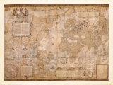 Världskarta, engelska Affischer av Gerardus Mercator