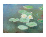 Water Lilies by Nightfall Pósters por Claude Monet