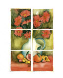 Red Daisies at the Window Prints by Sonia P.