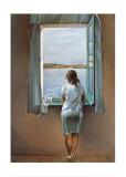 Junges Mädchen, am Fenster stehend Poster von Salvador Dalí