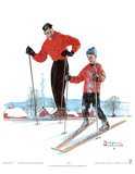 Ski Skills Print by Norman Rockwell