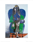 Sitting Woman with Green Scarf Kunstdrucke von Pablo Picasso