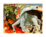 The Bullfight (gold foil text) Pósters por Pablo Picasso