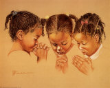 Three Girls Praying Poster by Pam McCabe