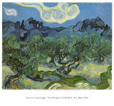 Landscape with Olive Trees Print by Vincent van Gogh