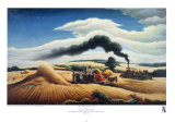 Threshing Wheat Poster by Thomas Hart Benton