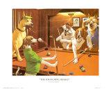 Jeu de billard entre chiens Poster par Arthur Sarnoff