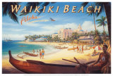 Waikiki Beach Art by Kerne Erickson