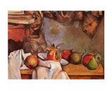 Straw Vase and Plate with Fruit Affiche par Paul Cézanne