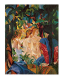 Women Taking a Bath with a Town on the Back Art by Auguste Macke