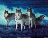 Groupe de loups Affiches par John Naito
