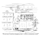 """I'm not sure I need an emergency room—is there a reassurance room?"" - New Yorker Cartoon Premium Giclee Print by Barbara Smaller"