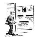 Man stands in front of mailbox with slots labeled 'Local Mail,' 'Out -Of-T… - New Yorker Cartoon Premium Giclee Print by Ed Fisher