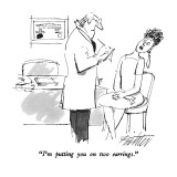 &quot;I&#39;m putting you on two earrings.&quot; - New Yorker Cartoon Premium Giclee Print by Mischa Richter