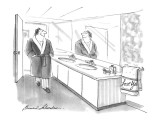 Self-satisfied man smiles at himself in mirror.  Towel is embroidered with… - New Yorker Cartoon Premium Giclee Print by Bernard Schoenbaum