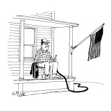 Man on porch that has an American flag,  he is holding a fire extinguisher… - New Yorker Cartoon Premium Giclee Print by Warren Miller