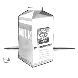 A carton of milk sits on a table with a photo of a contractor on the side … - New Yorker Cartoon Premium Giclee Print by Bob Eckstein