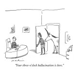 """Your three-o'clock hallucination is here."" - New Yorker Cartoon Premium Giclee Print by Michael Maslin"