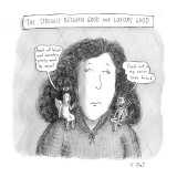 """A woman has a small angel on one shoulder that says, """"Aren't all black woo… - New Yorker Cartoon Premium Giclee Print by Roz Chast"""