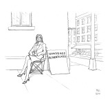 Angry woman on street corner with giant sign. - New Yorker Cartoon Premium Giclee Print by Paul Noth