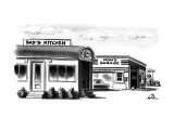 """A diner named """"Dad's Kitchen"""" stands next to a gas station named """"Mom's Ga… - New Yorker Cartoon Premium Giclee Print by Ed Fisher"""