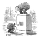 Man bending down to read the plaque on a statue of a man bending down to l… - New Yorker Cartoon Premium Giclee Print by Christopher Weyant