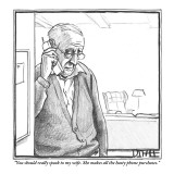 """""""You should really speak to my wife. She makes all the hasty phone purchases."""" - New Yorker Cartoon Premium Giclee Print by Matthew Diffee"""