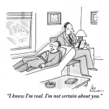 """I know I'm real. I'm not certain about you."" - New Yorker Cartoon Premium Giclee Print by Leo Cullum"