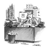 "Man in office full of papers with name plate ""Edwin the Busy"". - New Yorker Cartoon Premium Giclee Print by Henry Martin"