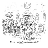 """It's true—we totally have the best religion!"" - New Yorker Cartoon Premium Giclee Print by David Sipress"