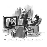 """The market hit new highs today, while the contrition index remained at zero."" - New Yorker Cartoon Premium Giclee Print by Lee Lorenz"