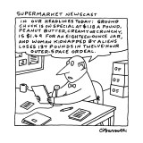 Supermarket Newscaster - New Yorker Cartoon Premium Giclee Print by Charles Barsotti