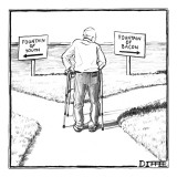 An elderly man is seen standing next to two arrow signs pointing in opposi… - New Yorker Cartoon Premium Giclee Print by Matthew Diffee