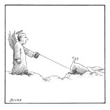 A male angel walks his dog on a leash across some clouds. The dog's head i… - New Yorker Cartoon Premium Giclee Print by Harry Bliss