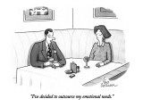 """""""I've decided to outsource my emotional needs."""" - New Yorker Cartoon Premium Giclee Print by Leo Cullum"""