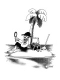 Man on desert island admires himself. - New Yorker Cartoon Premium Giclee Print by Richard Oldden