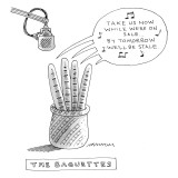(Four baguettes in a basket are singing into a microphone, encouraging cus… - New Yorker Cartoon Premium Giclee Print by Mick Stevens