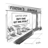 "Shoe store with sign ""Buy One Get One Free!"". - New Yorker Cartoon Premium Giclee Print by Dana Fradon"
