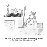 """But first, if it please the court, Brünnhilde's farewell to Siegfried fro…"" - New Yorker Cartoon Premium Giclee Print by Mike Twohy"