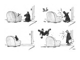 Four panel sequence in which a cat sleeping in an easy chair is frightened… - New Yorker Cartoon Premium Giclee Print by George Booth