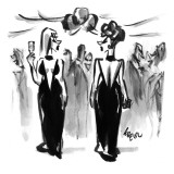Two women wearing the same dress at a cocktail party pass each other. - New Yorker Cartoon Premium Giclee Print by Lee Lorenz